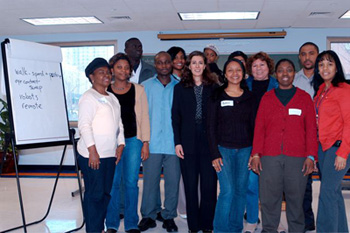 Katina with Student Ambassadors at a CUNY workshop